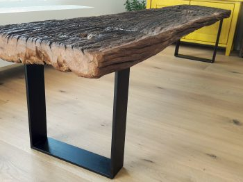 Table, bench and block of wood